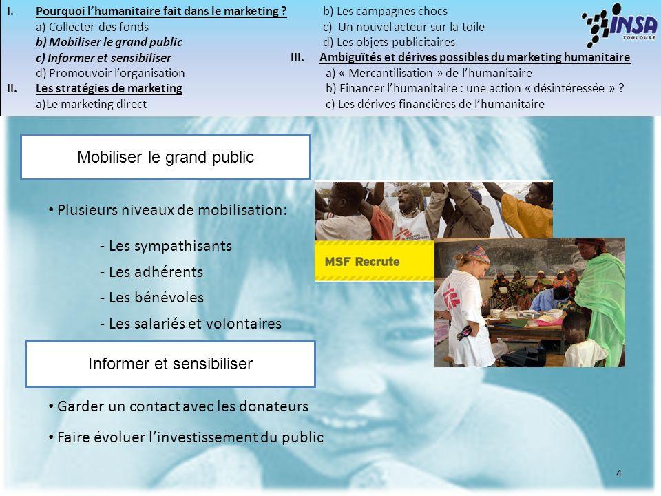 I.Pourquoi lhumanitaire fait dans le marketing ? a) Collecter des fonds b) Mobiliser le grand public c) Informer et sensibiliser d) Promouvoir lorgani