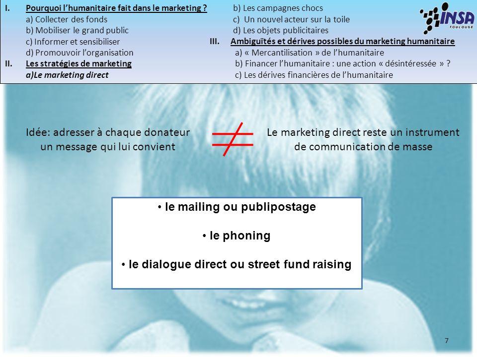7 le mailing ou publipostage le phoning le dialogue direct ou street fund raising Idée: adresser à chaque donateur un message qui lui convient Le mark