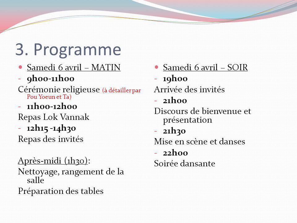 3. Programme Samedi 6 avril – MATIN - 9h00-11h00 Cérémonie religieuse (à détailler par Pou Yoeun et Ta) - 11h00-12h00 Repas Lok Vannak - 12h15 -14h30