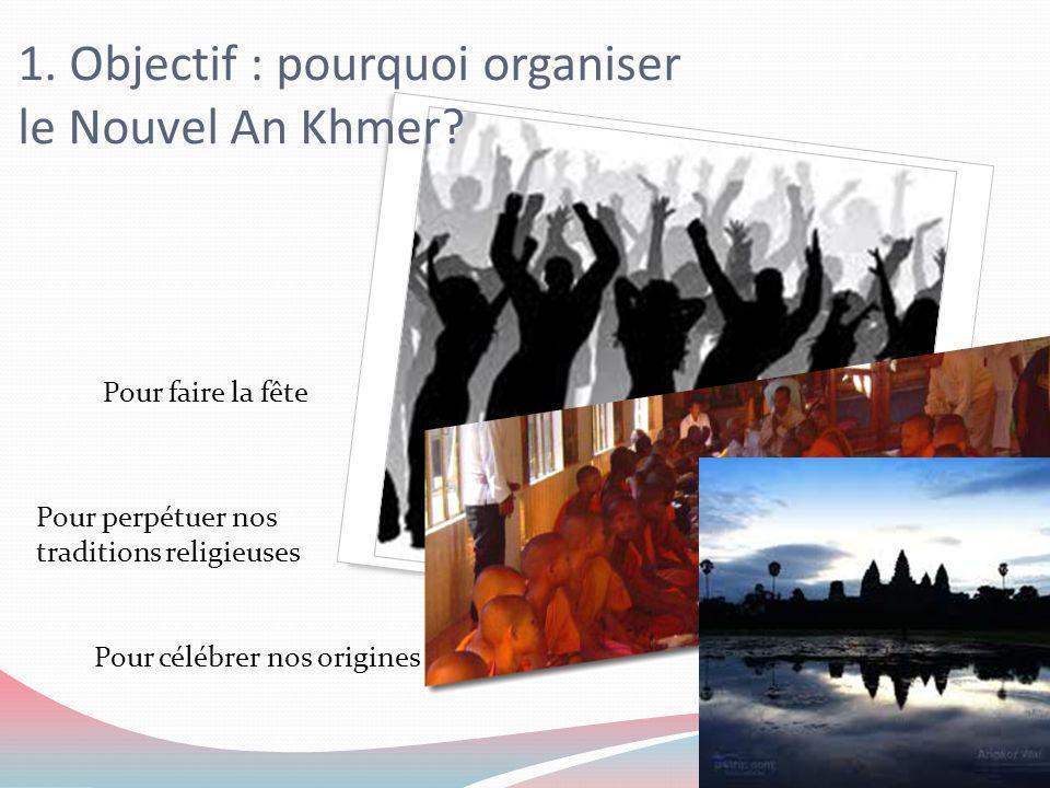 1. Objectif : pourquoi organiser le Nouvel An Khmer? Pour faire la fête Pour perpétuer nos traditions religieuses Pour célébrer nos origines