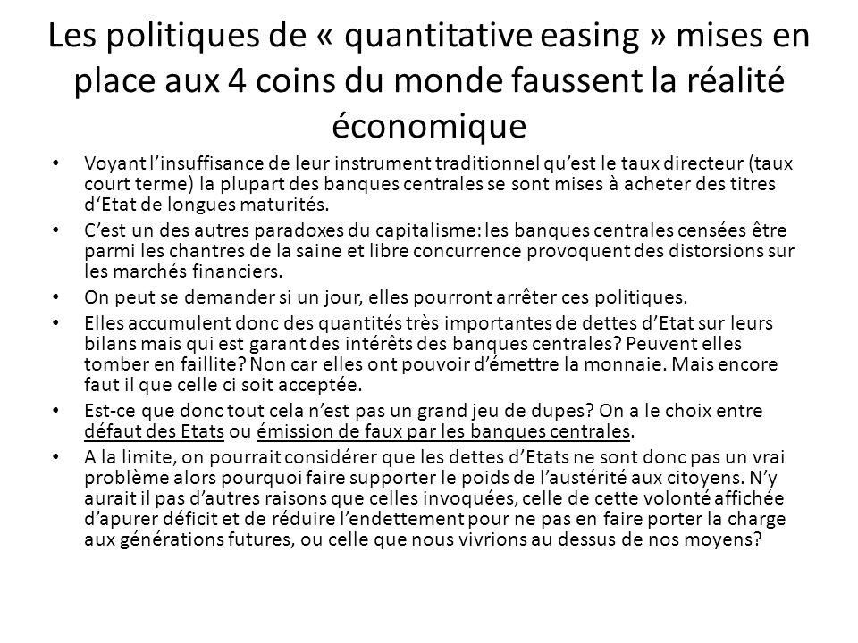 Les politiques de « quantitative easing » mises en place aux 4 coins du monde faussent la réalité économique Voyant linsuffisance de leur instrument t