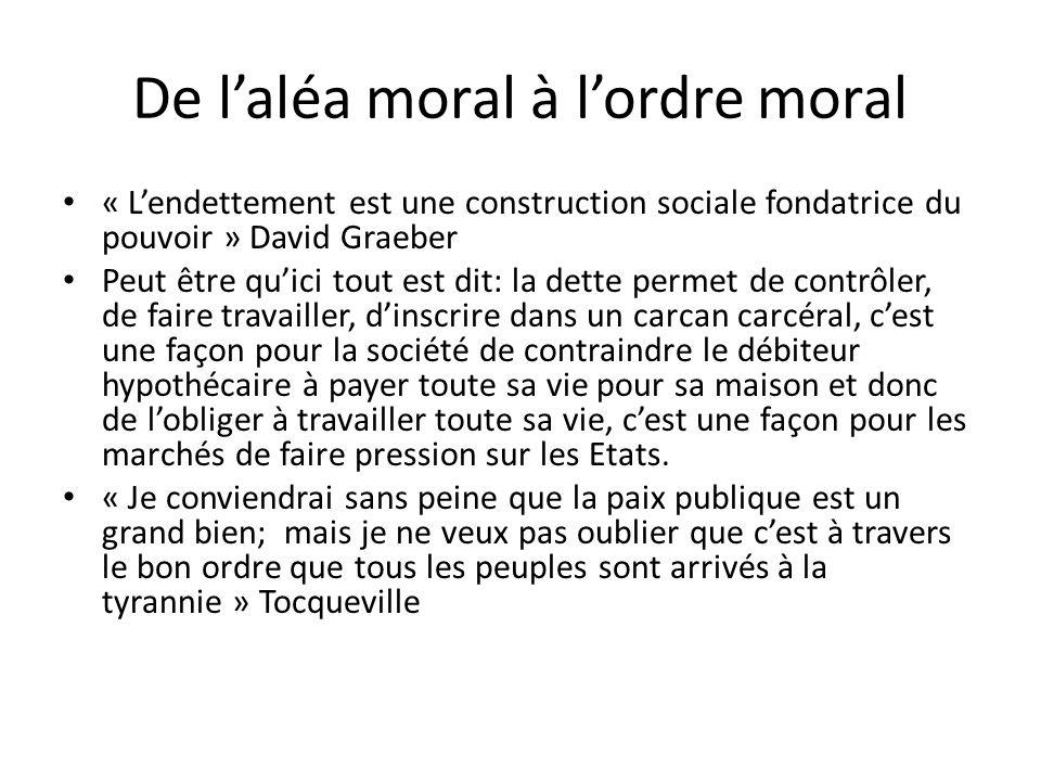 De laléa moral à lordre moral « Lendettement est une construction sociale fondatrice du pouvoir » David Graeber Peut être quici tout est dit: la dette