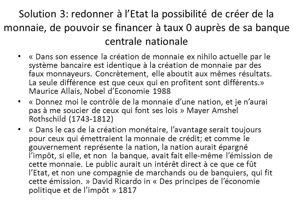 Solution 3: redonner à lEtat la possibilité de créer de la monnaie, de pouvoir se financer à taux 0 auprès de sa banque centrale nationale « Dans son