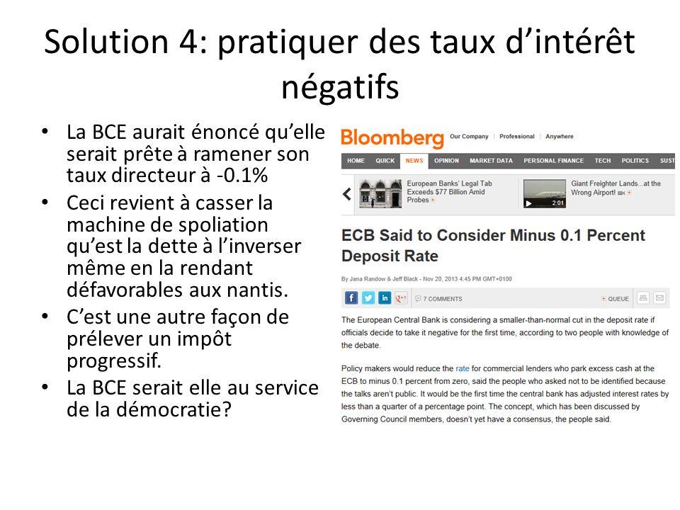 Solution 4: pratiquer des taux dintérêt négatifs La BCE aurait énoncé quelle serait prête à ramener son taux directeur à -0.1% Ceci revient à casser l