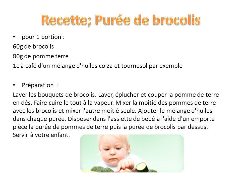 pour 1 portion : 60g de brocolis 80g de pomme terre 1c à café d'un mélange d'huiles colza et tournesol par exemple Préparation : Laver les bouquets de