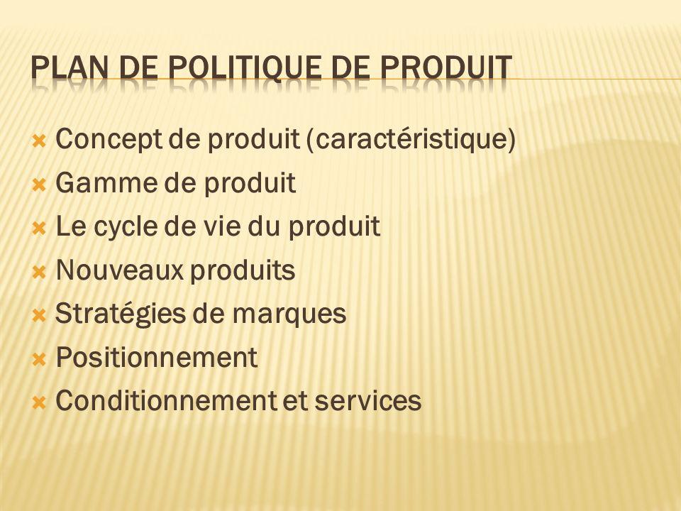 Concept de produit (caractéristique) Gamme de produit Le cycle de vie du produit Nouveaux produits Stratégies de marques Positionnement Conditionnemen