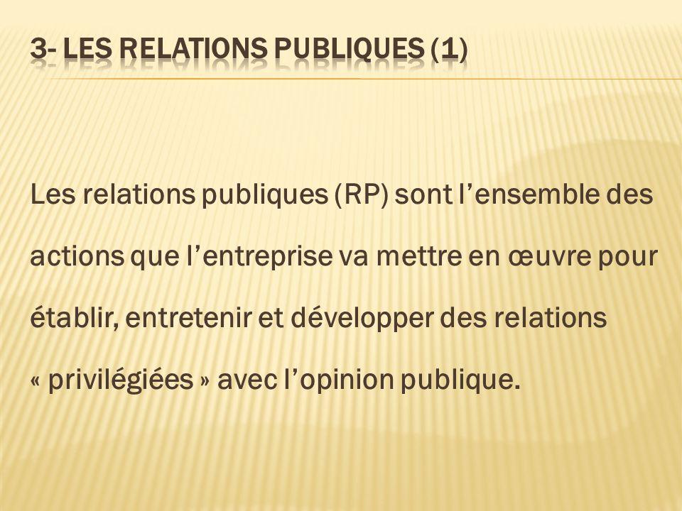 Les relations publiques (RP) sont lensemble des actions que lentreprise va mettre en œuvre pour établir, entretenir et développer des relations « priv