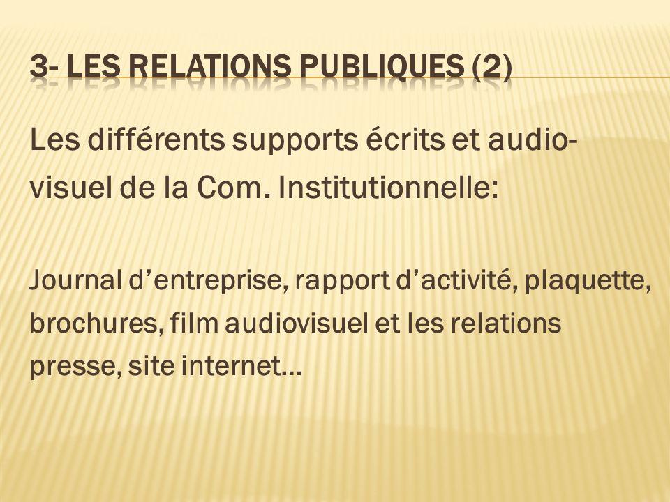 Les différents supports écrits et audio- visuel de la Com. Institutionnelle: Journal dentreprise, rapport dactivité, plaquette, brochures, film audiov