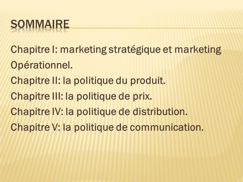 Chapitre I: marketing stratégique et marketing Opérationnel. Chapitre II: la politique du produit. Chapitre III: la politique de prix. Chapitre IV: la
