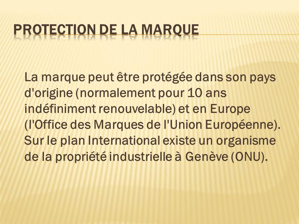La marque peut être protégée dans son pays d'origine (normalement pour 10 ans indéfiniment renouvelable) et en Europe (l'Office des Marques de l'Union