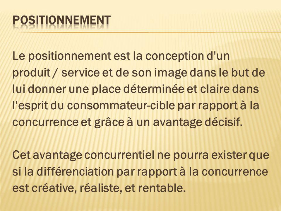 Le positionnement est la conception d'un produit / service et de son image dans le but de lui donner une place déterminée et claire dans l'esprit du c