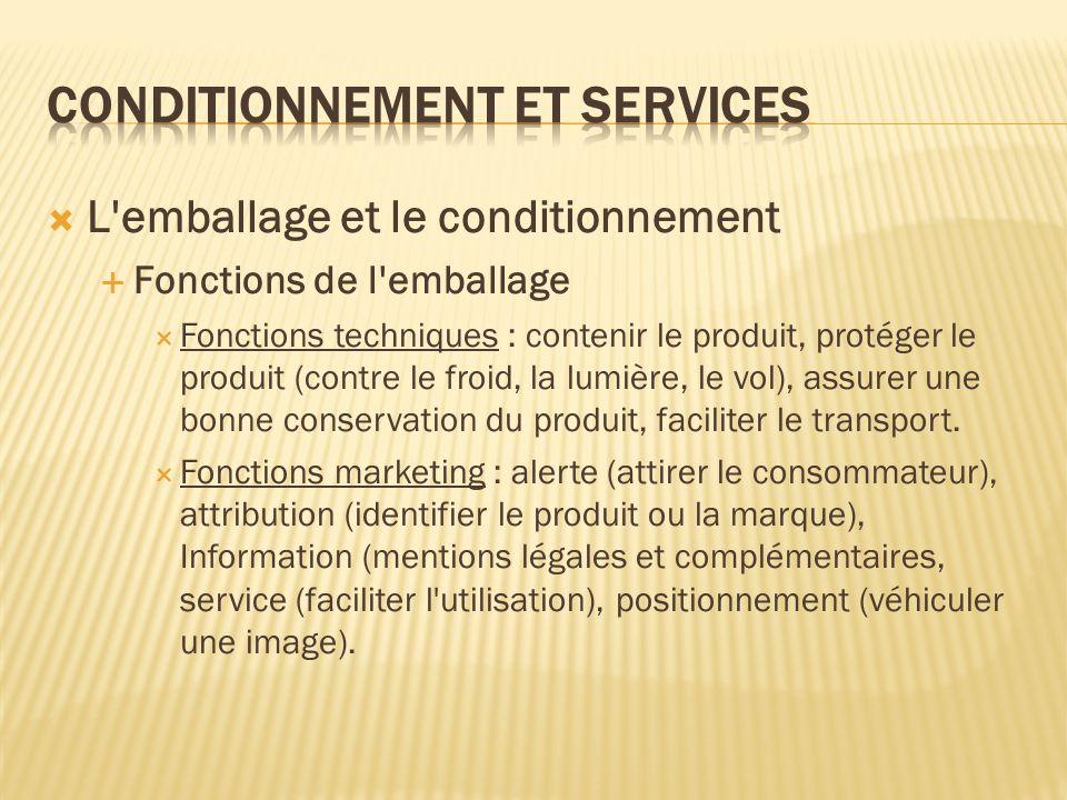 L'emballage et le conditionnement Fonctions de l'emballage Fonctions techniques : contenir le produit, protéger le produit (contre le froid, la lumièr
