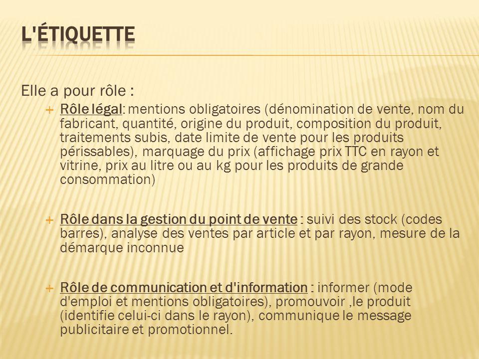 Elle a pour rôle : Rôle légal: mentions obligatoires (dénomination de vente, nom du fabricant, quantité, origine du produit, composition du produit, t
