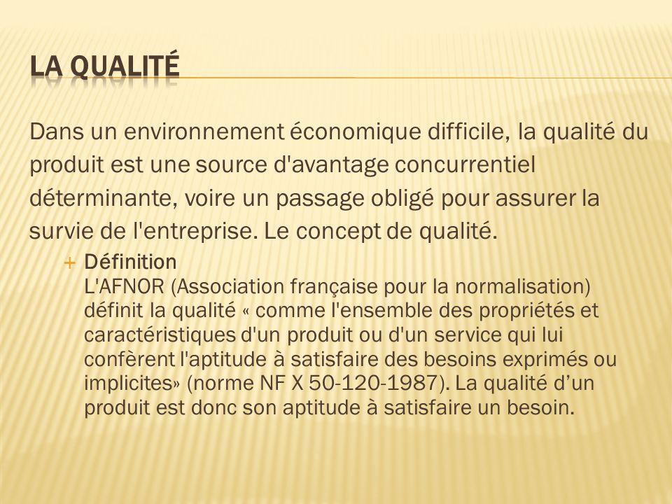 Dans un environnement économique difficile, la qualité du produit est une source d'avantage concurrentiel déterminante, voire un passage obligé pour a
