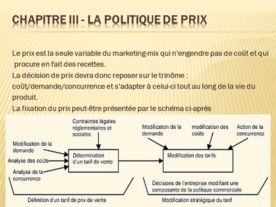 Le prix est la seule variable du marketing-mix qui n'engendre pas de coût et qui procure en fait des recettes. La décision de prix devra donc reposer