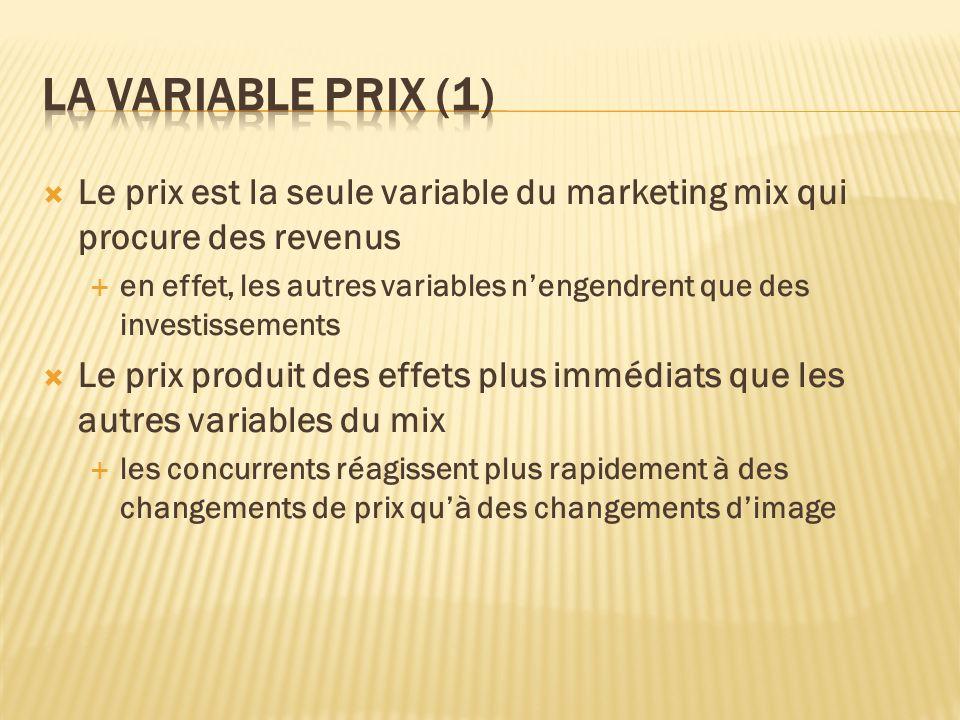 Le prix est la seule variable du marketing mix qui procure des revenus en effet, les autres variables nengendrent que des investissements Le prix prod