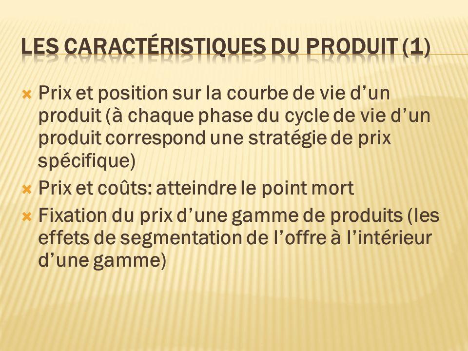 Prix et position sur la courbe de vie dun produit (à chaque phase du cycle de vie dun produit correspond une stratégie de prix spécifique) Prix et coû