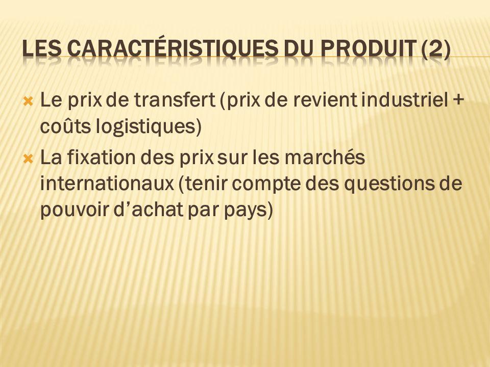 Le prix de transfert (prix de revient industriel + coûts logistiques) La fixation des prix sur les marchés internationaux (tenir compte des questions