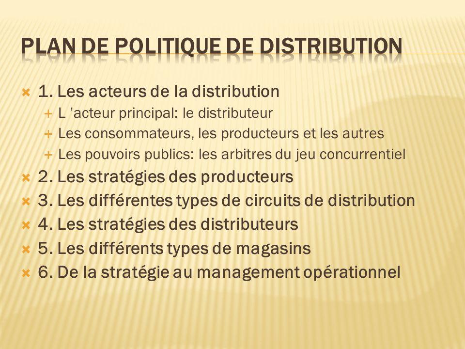 1. Les acteurs de la distribution L acteur principal: le distributeur Les consommateurs, les producteurs et les autres Les pouvoirs publics: les arbit