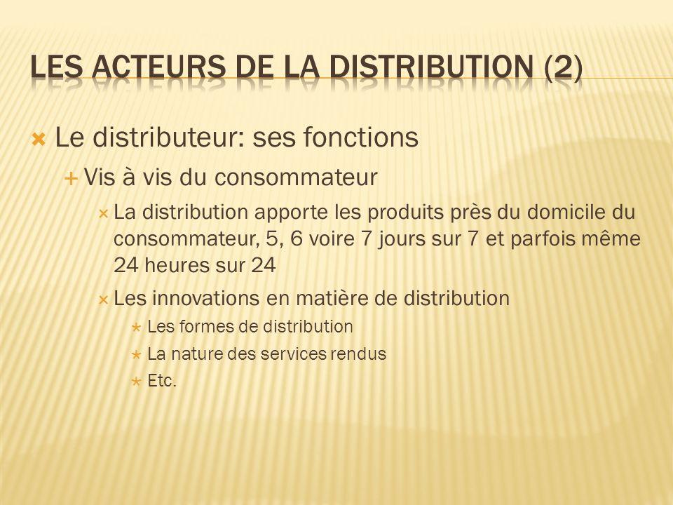 Le distributeur: ses fonctions Vis à vis du consommateur La distribution apporte les produits près du domicile du consommateur, 5, 6 voire 7 jours sur