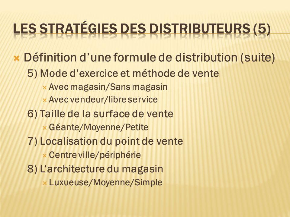Définition dune formule de distribution (suite) 5) Mode dexercice et méthode de vente Avec magasin/Sans magasin Avec vendeur/libre service 6) Taille d