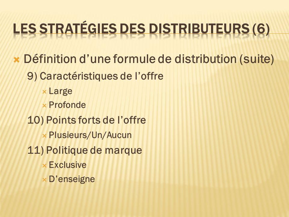 Définition dune formule de distribution (suite) 9) Caractéristiques de loffre Large Profonde 10) Points forts de loffre Plusieurs/Un/Aucun 11) Politiq
