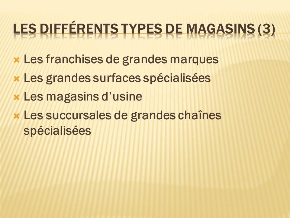 Les franchises de grandes marques Les grandes surfaces spécialisées Les magasins dusine Les succursales de grandes chaînes spécialisées