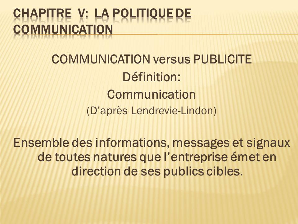 COMMUNICATION versus PUBLICITE Définition: Communication (Daprès Lendrevie-Lindon) Ensemble des informations, messages et signaux de toutes natures qu