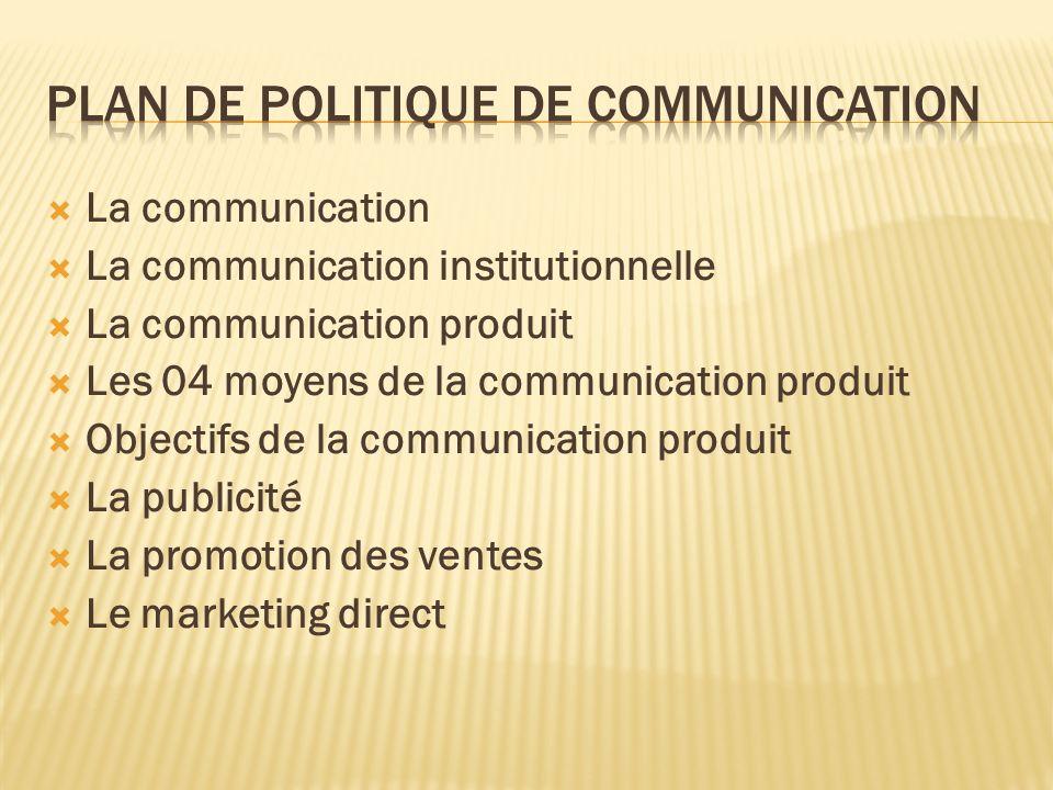 La communication La communication institutionnelle La communication produit Les 04 moyens de la communication produit Objectifs de la communication pr