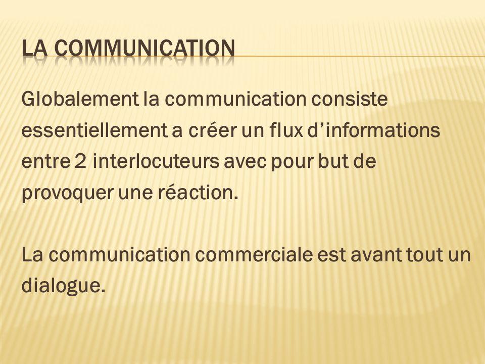 Globalement la communication consiste essentiellement a créer un flux dinformations entre 2 interlocuteurs avec pour but de provoquer une réaction. La
