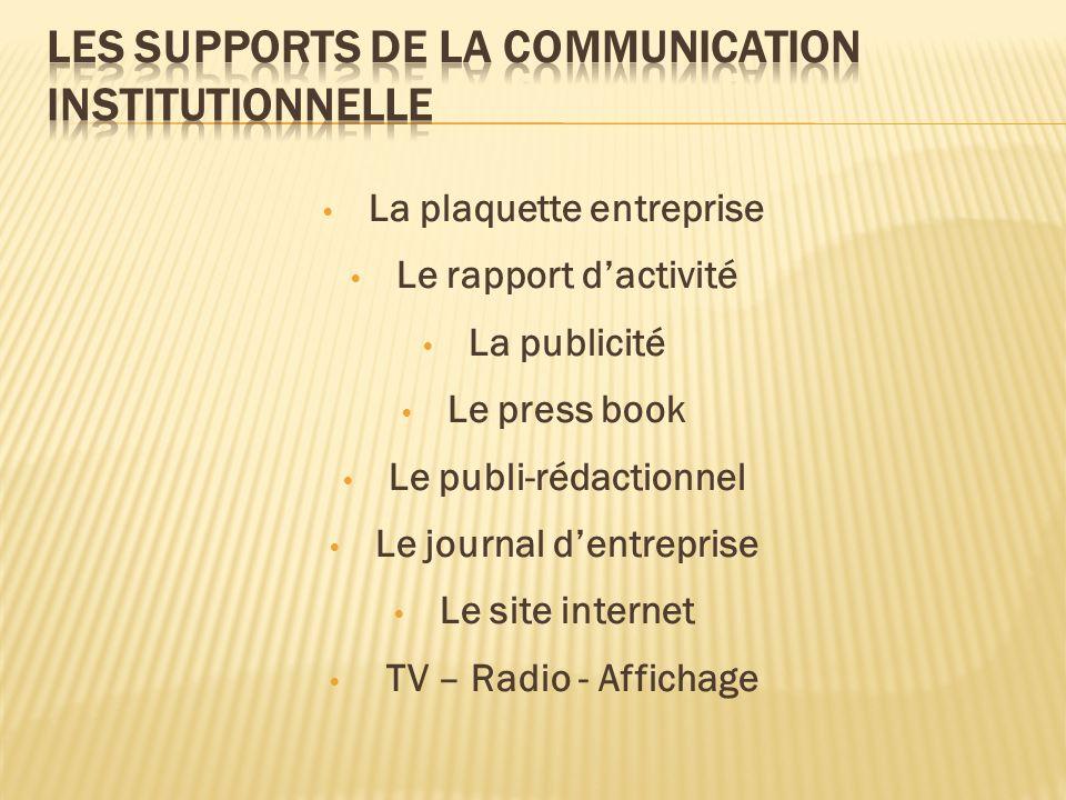 La plaquette entreprise Le rapport dactivité La publicité Le press book Le publi-rédactionnel Le journal dentreprise Le site internet TV – Radio - Aff