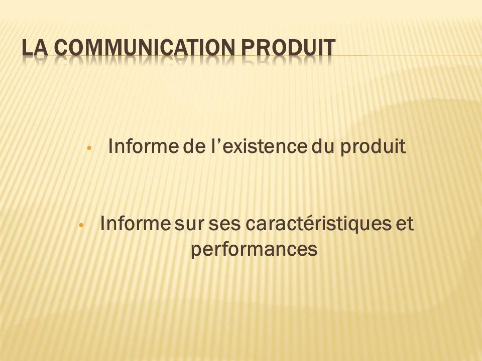 Informe de lexistence du produit Informe sur ses caractéristiques et performances