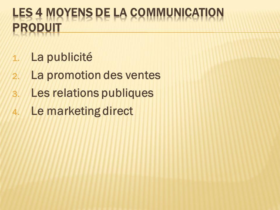 1. La publicité 2. La promotion des ventes 3. Les relations publiques 4. Le marketing direct