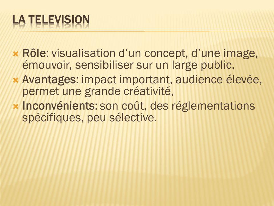 Rôle: visualisation dun concept, dune image, émouvoir, sensibiliser sur un large public, Avantages: impact important, audience élevée, permet une gran