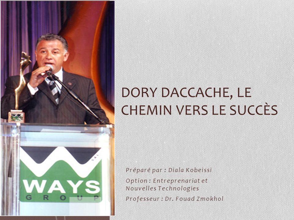 Préparé par : Diala Kobeissi Option : Entreprenariat et Nouvelles Technologies Professeur : Dr. Fouad Zmokhol DORY DACCACHE, LE CHEMIN VERS LE SUCCÈS