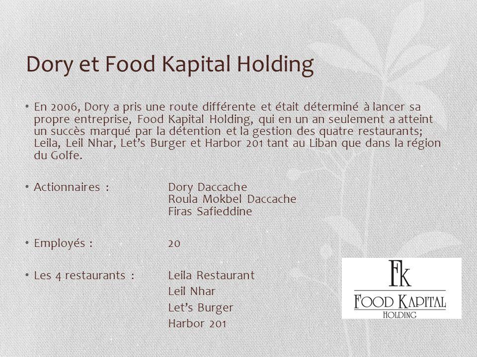 Dory et Food Kapital Holding En 2006, Dory a pris une route différente et était déterminé à lancer sa propre entreprise, Food Kapital Holding, qui en