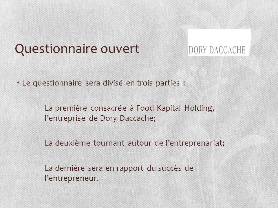 Questionnaire ouvert Le questionnaire sera divisé en trois parties : La première consacrée à Food Kapital Holding, lentreprise de Dory Daccache; La de