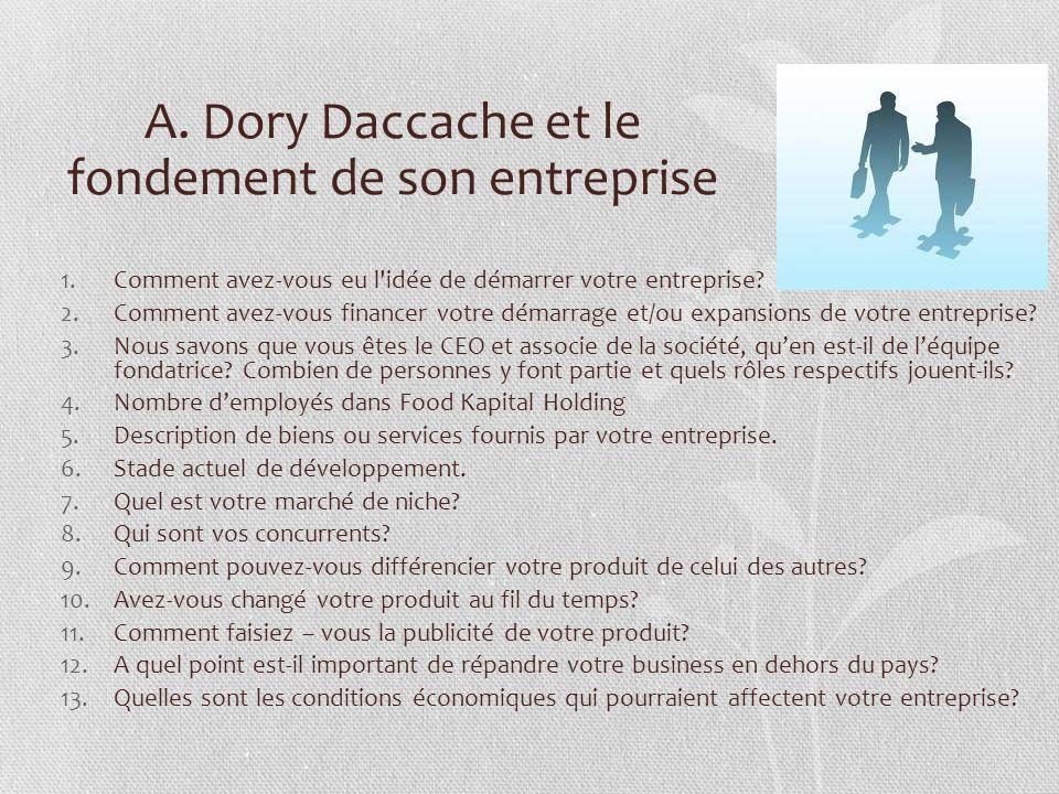 A. Dory Daccache et le fondement de son entreprise 1.Comment avez-vous eu l'idée de démarrer votre entreprise? 2.Comment avez-vous financer votre déma
