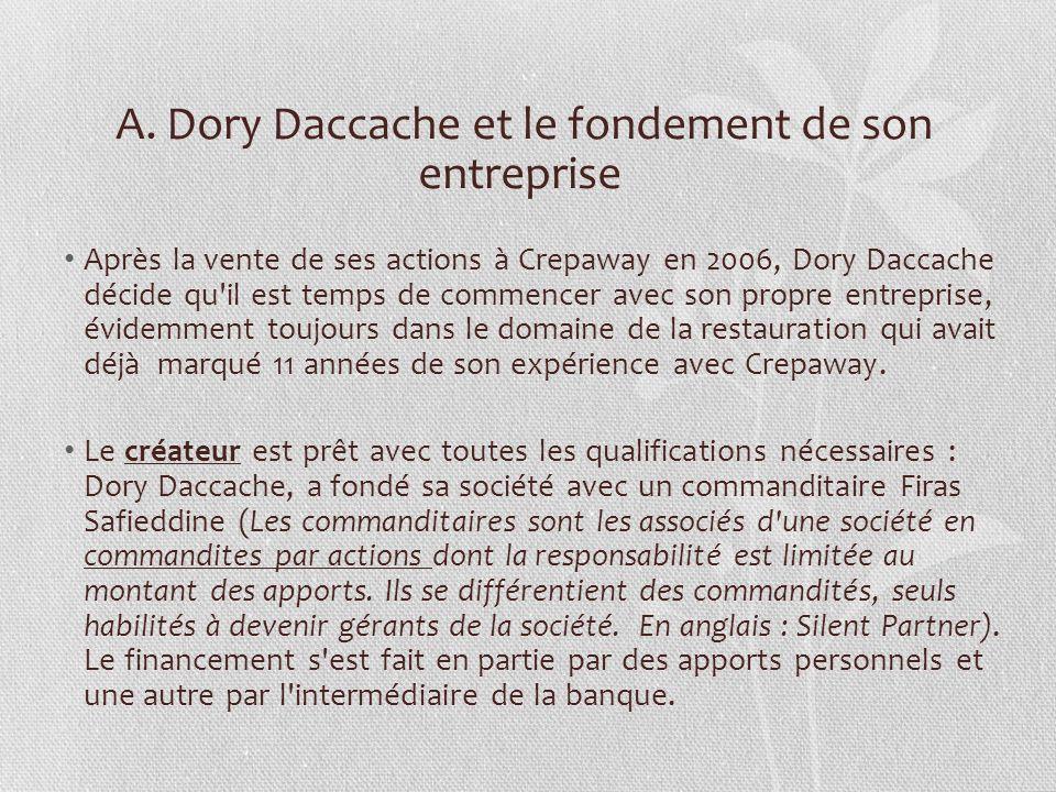 A. Dory Daccache et le fondement de son entreprise Après la vente de ses actions à Crepaway en 2006, Dory Daccache décide qu'il est temps de commencer