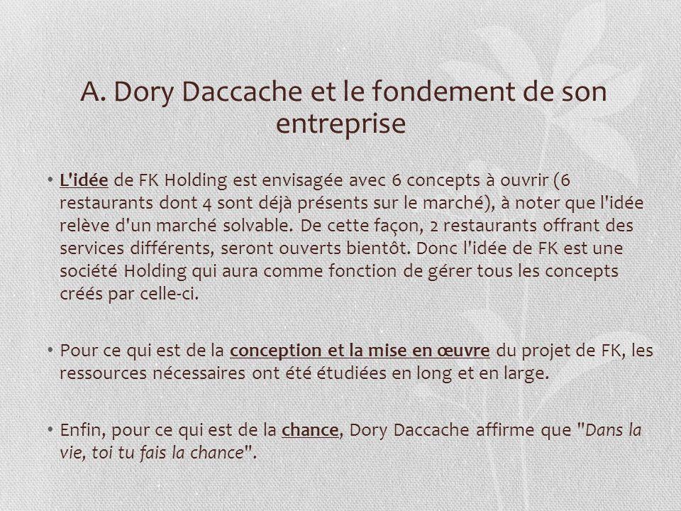 A. Dory Daccache et le fondement de son entreprise L'idée de FK Holding est envisagée avec 6 concepts à ouvrir (6 restaurants dont 4 sont déjà présent
