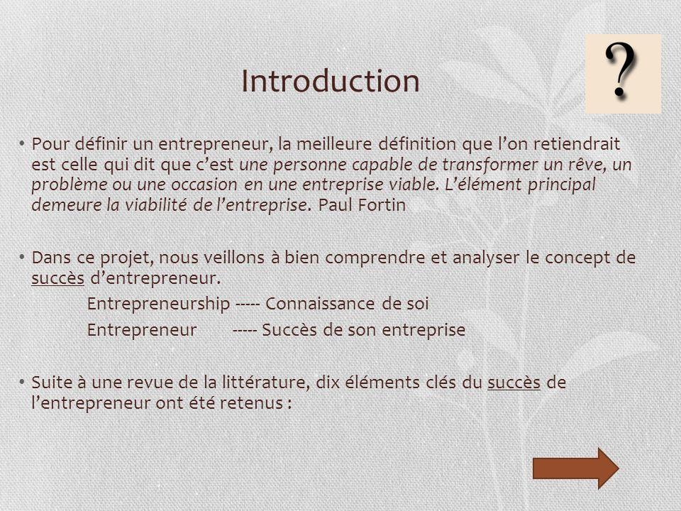 Introduction Pour définir un entrepreneur, la meilleure définition que lon retiendrait est celle qui dit que cest une personne capable de transformer