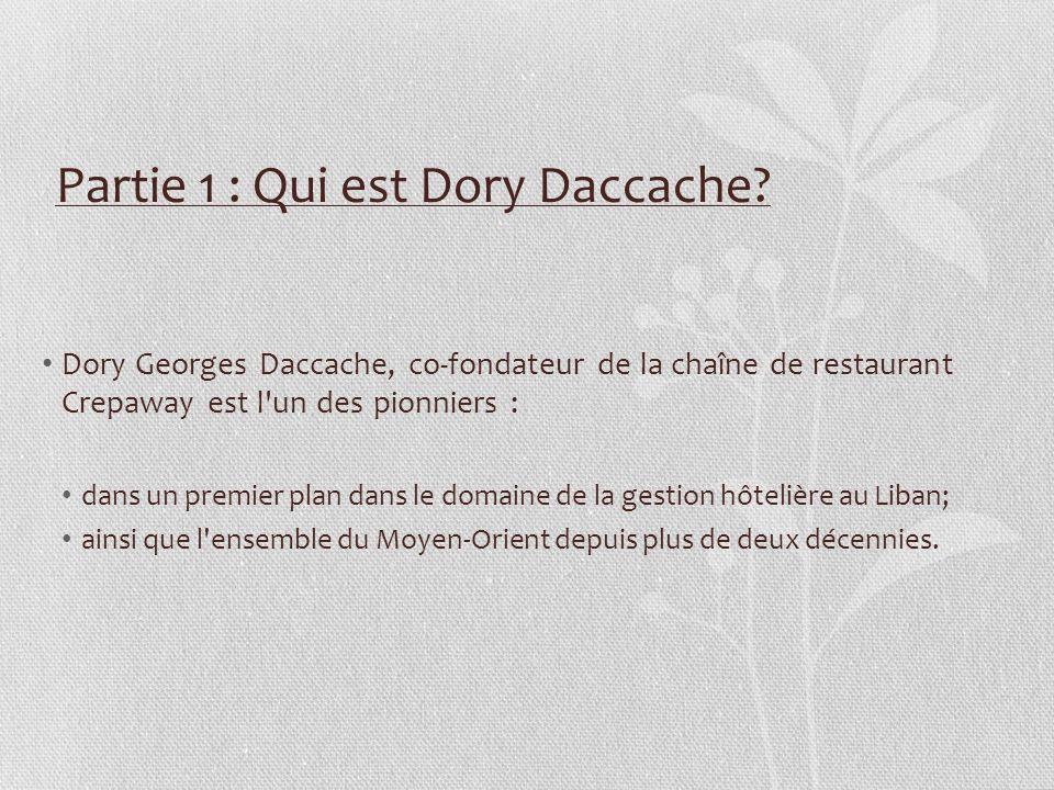La carrière de Dory Daccache – 1981 à 2012 Chef de département à la banque Saradar 1981 – 1985 Directeur à la Future Bank1986 – 1988 Actionnaire et directeur financier à Crepaway, avec au total de : - 7 branches au Liban; - 5 autres dans les pays du Golfe.