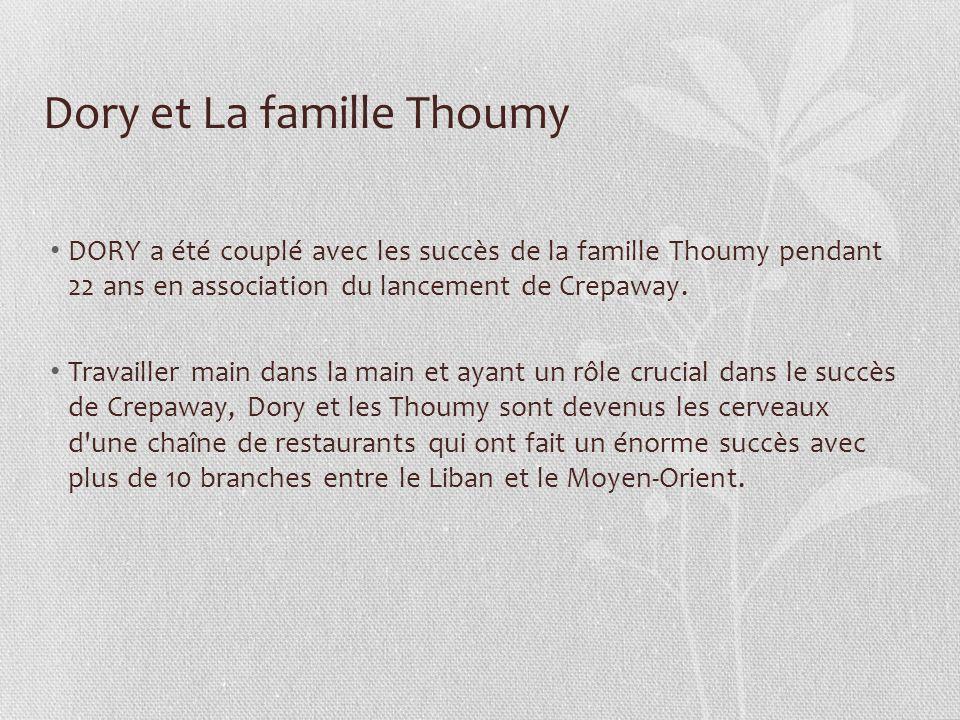 Dory et La famille Thoumy DORY a été couplé avec les succès de la famille Thoumy pendant 22 ans en association du lancement de Crepaway. Travailler ma