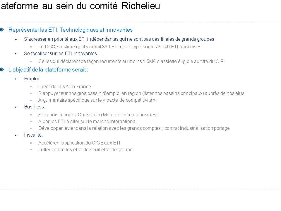 Plateforme au sein du comité Richelieu Représenter les ETI, Technologiques et Innovantes Sadresser en priorité aux ETI indépendantes qui ne sont pas d