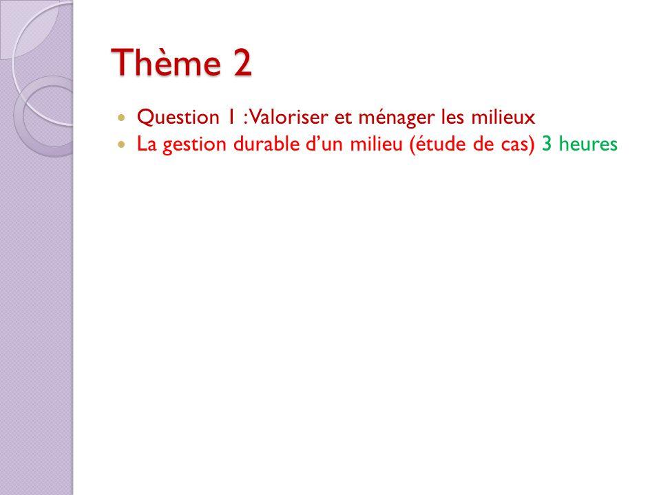 Thème 2 Question 1 : Valoriser et ménager les milieux La gestion durable dun milieu (étude de cas) 3 heures