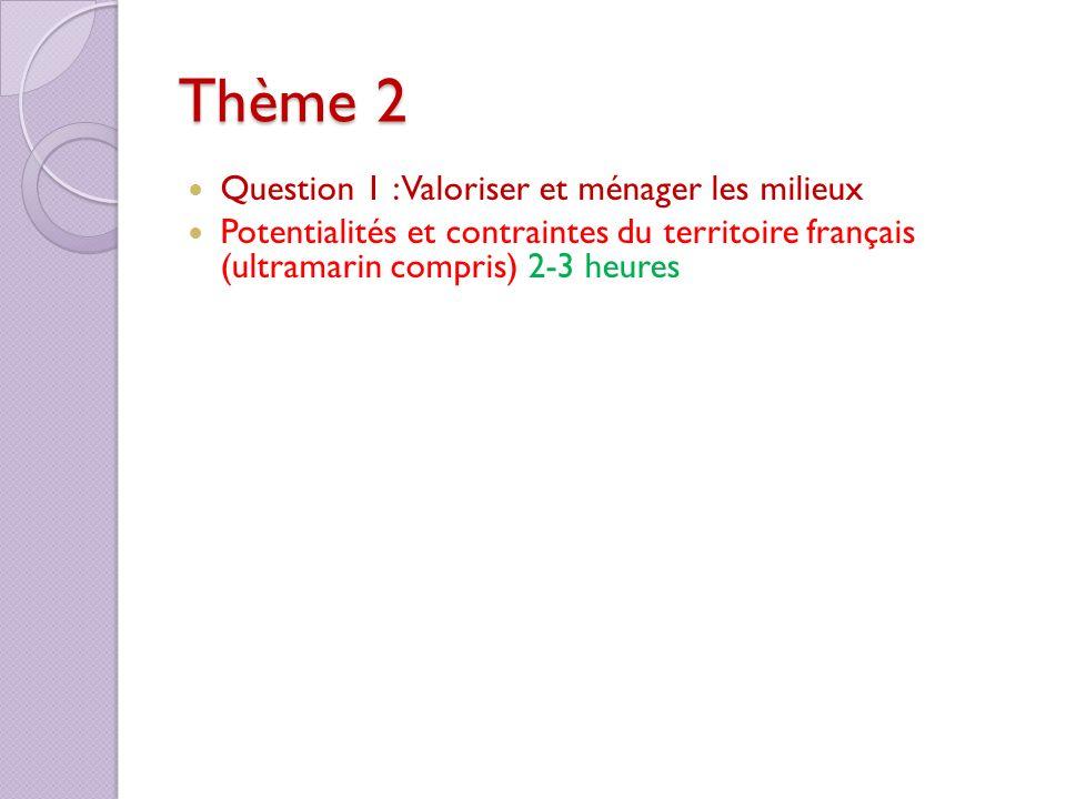 Thème 2 Question 1 : Valoriser et ménager les milieux Potentialités et contraintes du territoire français (ultramarin compris) 2-3 heures