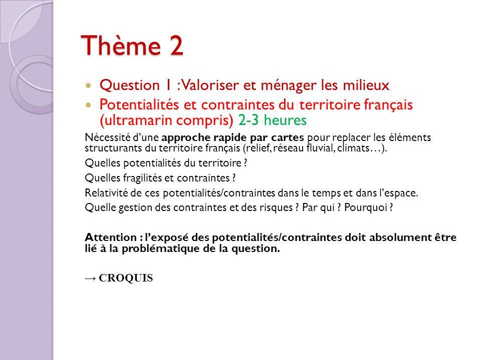Thème 2 Question 1 : Valoriser et ménager les milieux Potentialités et contraintes du territoire français (ultramarin compris) 2-3 heures Nécessité du