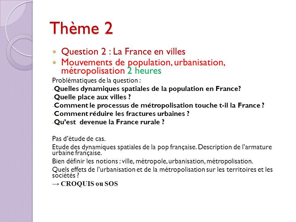 Thème 2 Question 2 : La France en villes Mouvements de population, urbanisation, métropolisation 2 heures Problématiques de la question : - Quelles dy