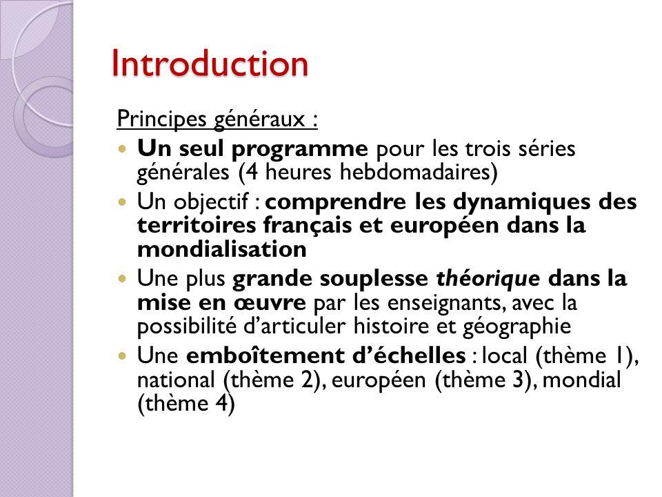 Introduction Principes généraux : Un seul programme pour les trois séries générales (4 heures hebdomadaires) Un objectif : comprendre les dynamiques d