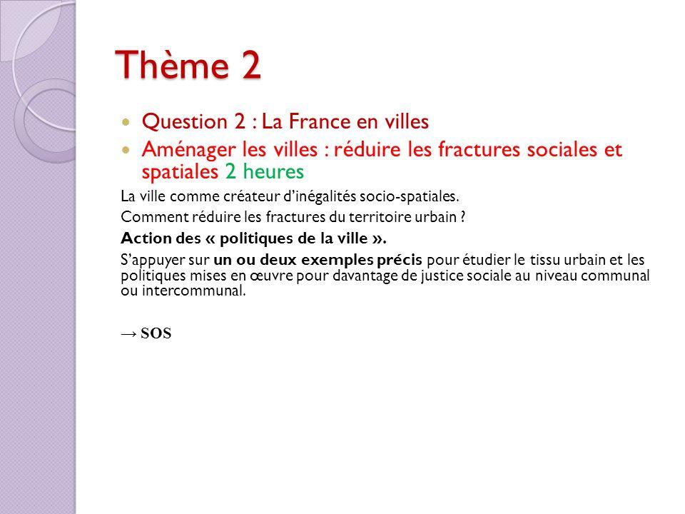 Thème 2 Question 2 : La France en villes Aménager les villes : réduire les fractures sociales et spatiales 2 heures La ville comme créateur dinégalité
